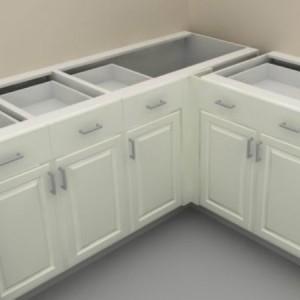 Pildil on valkjas köögimööbel, nurgaga, ilma tööpinnata.